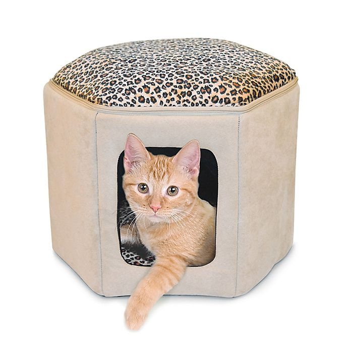Alternate image 1 for Thermo-Kitty Sleephouse™ Heated Cat Bed in Tan/Leopard