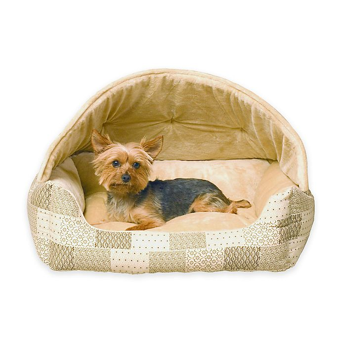 Alternate image 1 for Hooded Lounge Sleeper™ Snuggle Pet Bed in Tan Patchwork