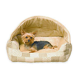 Hooded Lounge Sleeper™ Snuggle Pet Bed in Tan Patchwork