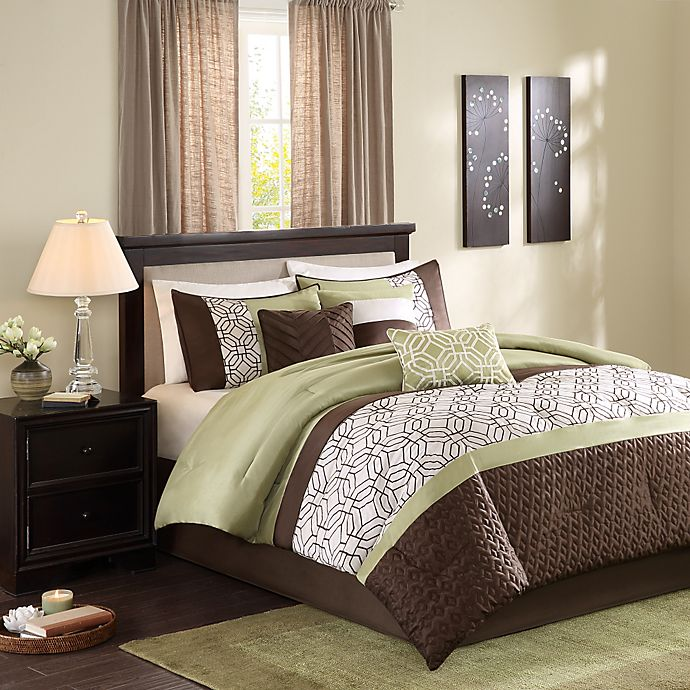 Alternate image 1 for Madison Park Briggs 7-Piece Comforter Set in Green