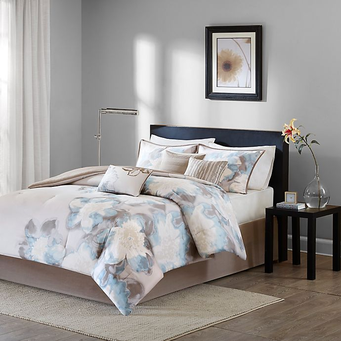 Alternate image 1 for Madison Park Serena Reversible 7-Piece Comforter Set in Blue