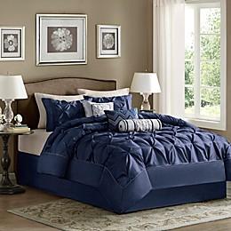 Madison Park Laurel 7-Piece Comforter Set in Navy