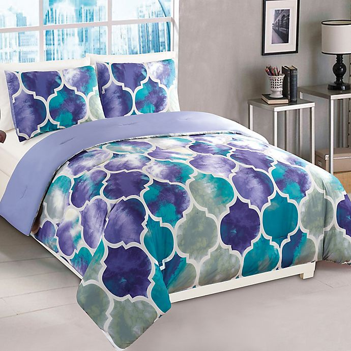 Alternate image 1 for Emmi 2-Piece Twin Comforter Set in Purple/Teal