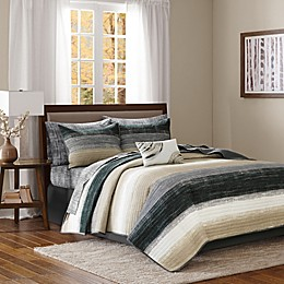 Madison Park Essentials Saben Coverlet Set in Taupe/Black