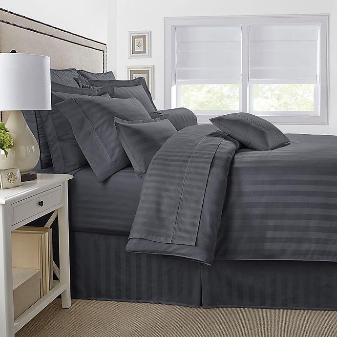 Alternate image 1 for 500-Thread-Count Damask Stripe Reversible Comforter Set
