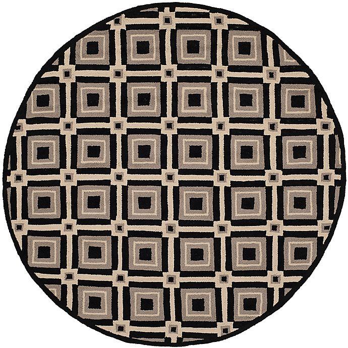 Alternate image 1 for Safavieh Four Seasons Diamonds 4-Foot Round Area Rug in Black/Grey