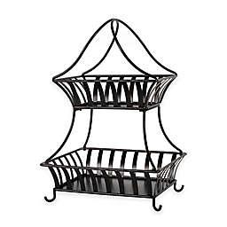 Gourmet Basics by Mikasa® Stripe 2-Tier Countertop Basket in Black