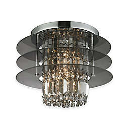 Elk Lighting Zoey 3-Light Semi Flush Mount Ceiling Fixture in Polished Chrome with Amber Teak Glass