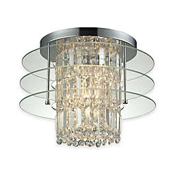 Elk Lighting Zoey 3-Light Semi Flush Mount Ceiling Fixture in Polished Chrome with Clear Glass