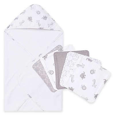 Trend Lab® 6-Piece Chevron Hooded Towel and Washcloth Set in Safari
