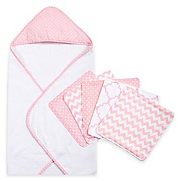 Trend Lab® 6-Piece Dot Hooded Towel and Wash Cloth Set in Pink Sky