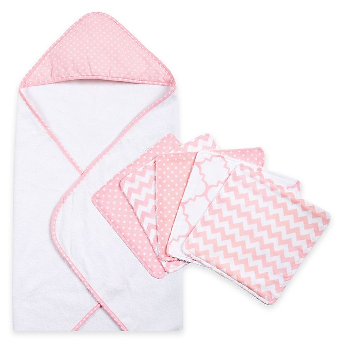 Alternate image 1 for Trend Lab® 6-Piece Dot Hooded Towel and Wash Cloth Set in Pink Sky