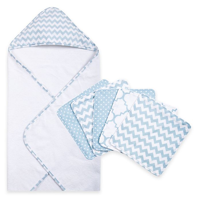 Alternate image 1 for Trend Lab® 6-Piece Chevron Hooded Towel and Washcloth Set in Blue Sky