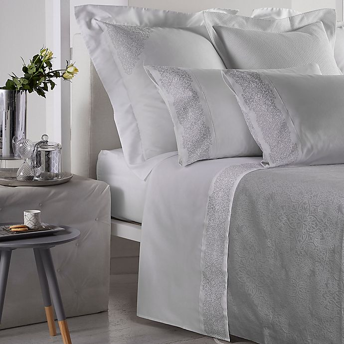 Alternate image 1 for Frette At Home Noto Ricamo Pillowcase in White/Stone