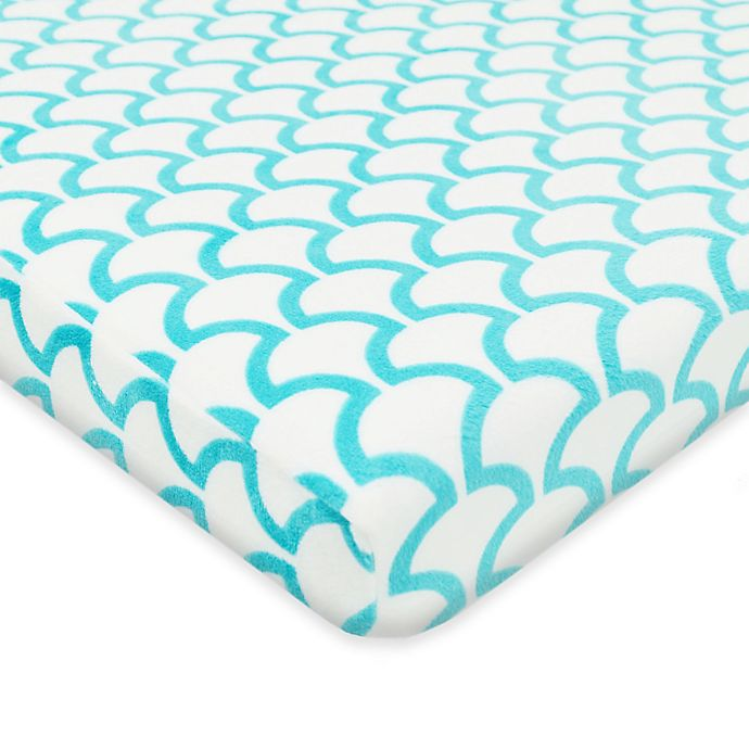 Alternate image 1 for TL Care® Heavenly Soft Chenille Playard Fitted Sheet in Aqua Sea Wave