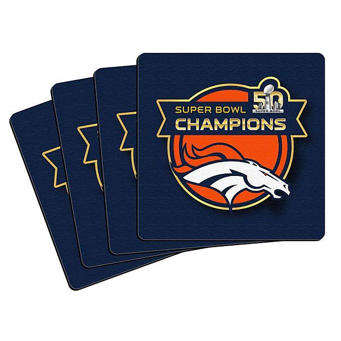 Alternate image 1 for NFL Denver Broncos Super Bowl 50 Champions Coasters (Set of 4)