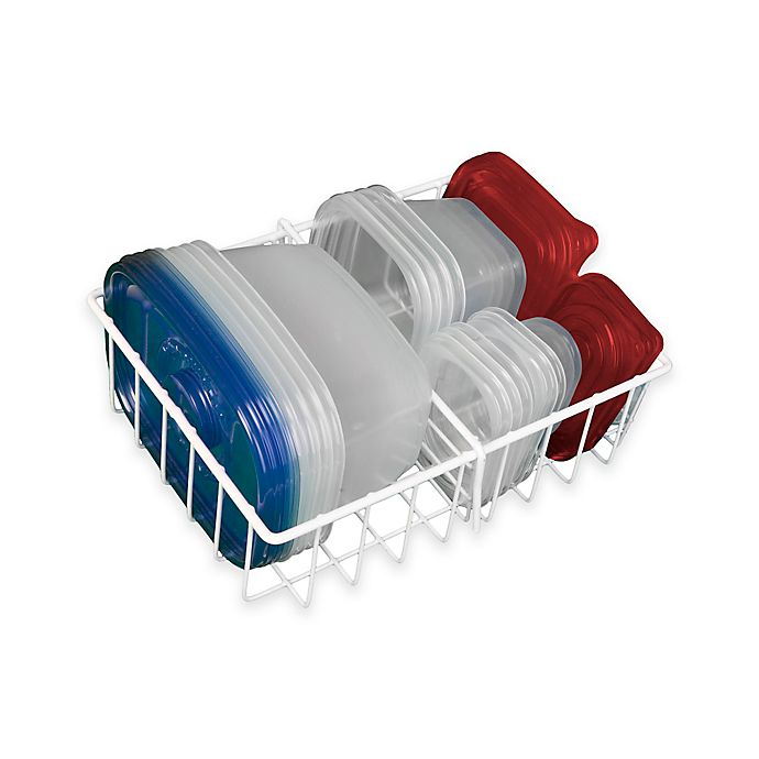 Alternate image 1 for Small Adjustable Food Storage Organizer in White