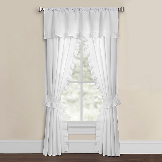 Alternate image 1 for Smoothweave™ 108-Inch Ruffled Rod Pocket Window Curtain Panels with Tie Backs in White
