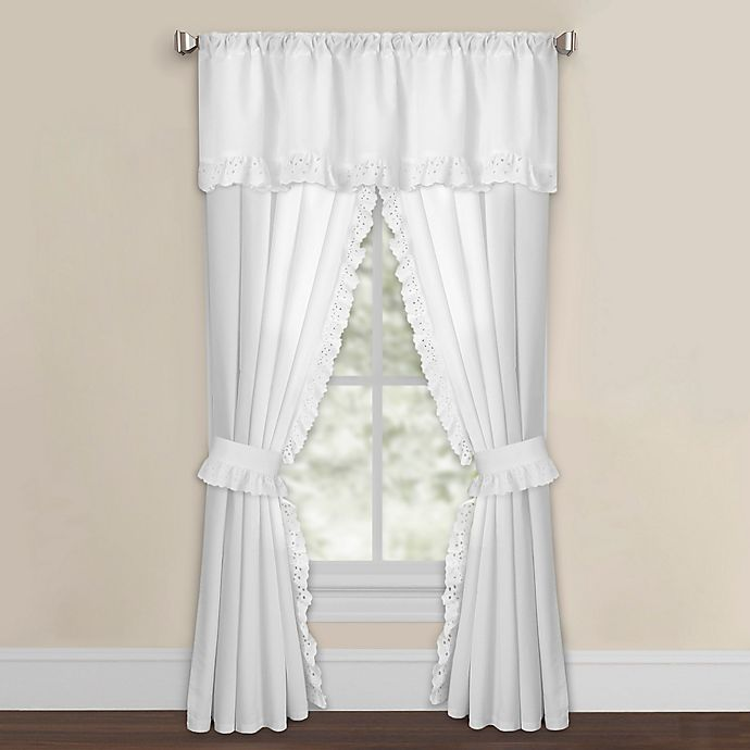 Alternate image 1 for Smoothweave™ Eyelet Window Curtain Panels with Tie Backs and Valance