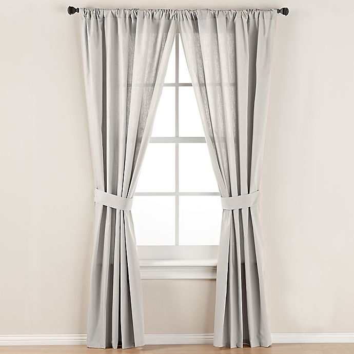 Alternate image 1 for Smoothweave™ 84-Inch Tailored Rod Pocket Window Curtain Panel with Tie Back in Ivory