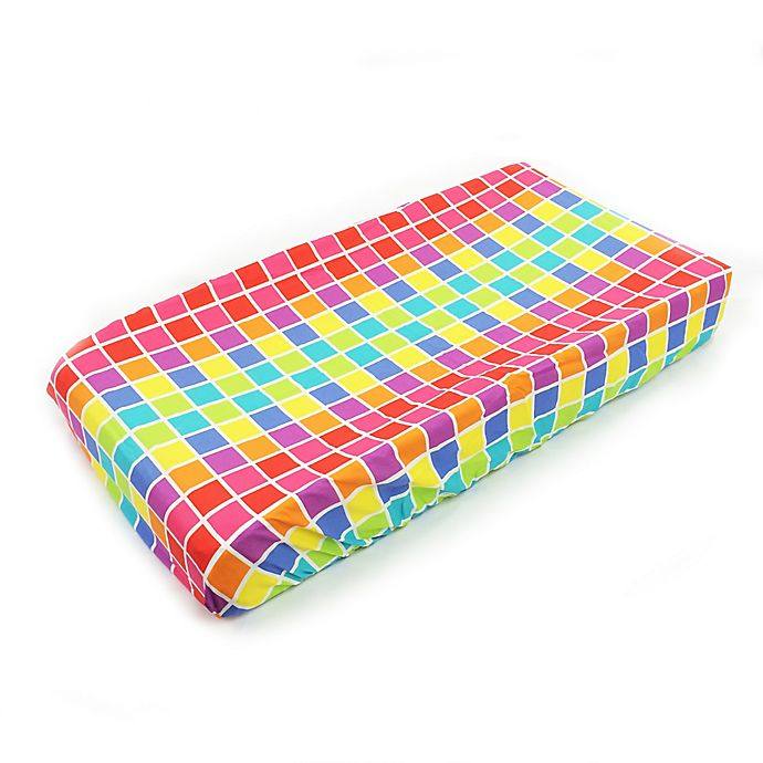 Alternate image 1 for One Grace Place Terrific Tie Dye Squares Changing Pad Cover