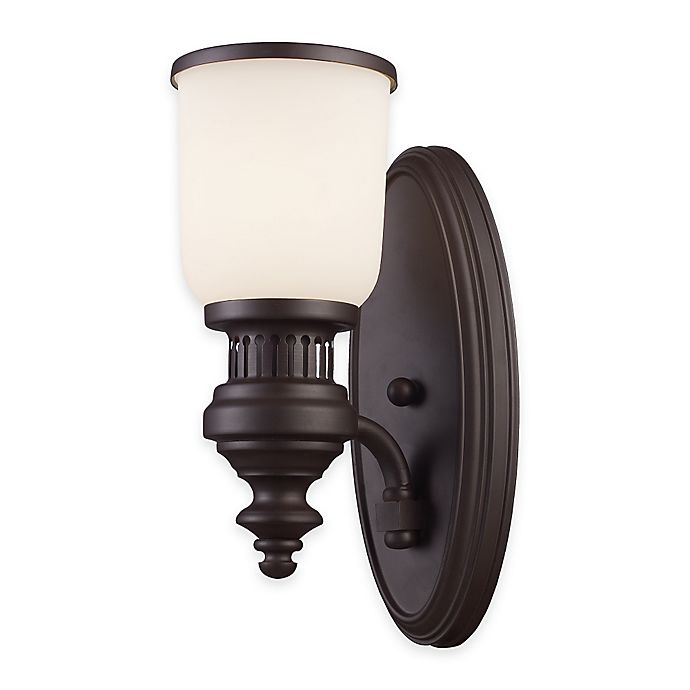 Alternate image 1 for Elk Lighting Chadwick 1-Light Wall Sconce in Oiled Bronze with Amber Glass Shade