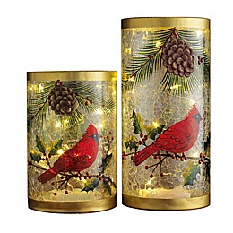 Home Essentials & Beyond Cardinal Hurricane Decorative Lanterns (Set of 2)