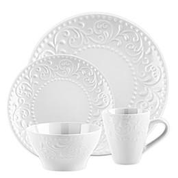 Home Essentials & Beyond White Scroll Embossed 16-Piece Ceramic Dinnerware Set