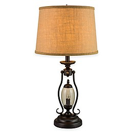 Fangio Lighting 2-Light Table Lamp in Black with Burlap Shade