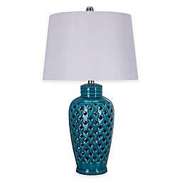 Fangio Lighting Ceramic Lattice Table Lamp in Blue