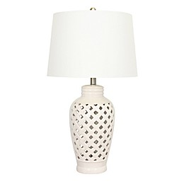 Fangio Lighting Open Lattice Table Lamp in White with Fabric Shade