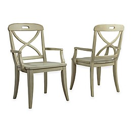 Panama Jack® Millbrook X-Back Dining Arm Chairs in Buttermilk (Set of 2)