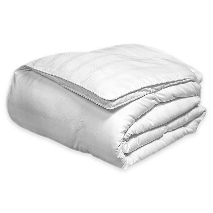 Alternate image 1 for 600-Thread-Count Reversible Cotton Damask Windowpane Down Alternative Comforter in White