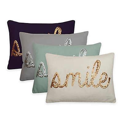 "Thro ""Smile"" Sequin Script Oblong Throw Pillow"