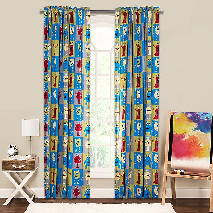 Alternate image 1 for Crayola® Monster Friends 84-Inch Window Curtain Panel in Blue/Green