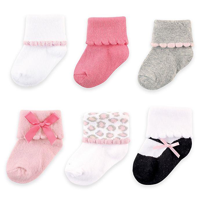Alternate image 1 for BabyVision® Luvable Friends® 6-Pack Dressy Cuff Socks