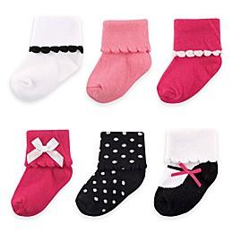 BabyVision® Luvable Friends® 6-Pack Dressy Socks in Dark Pink/Black
