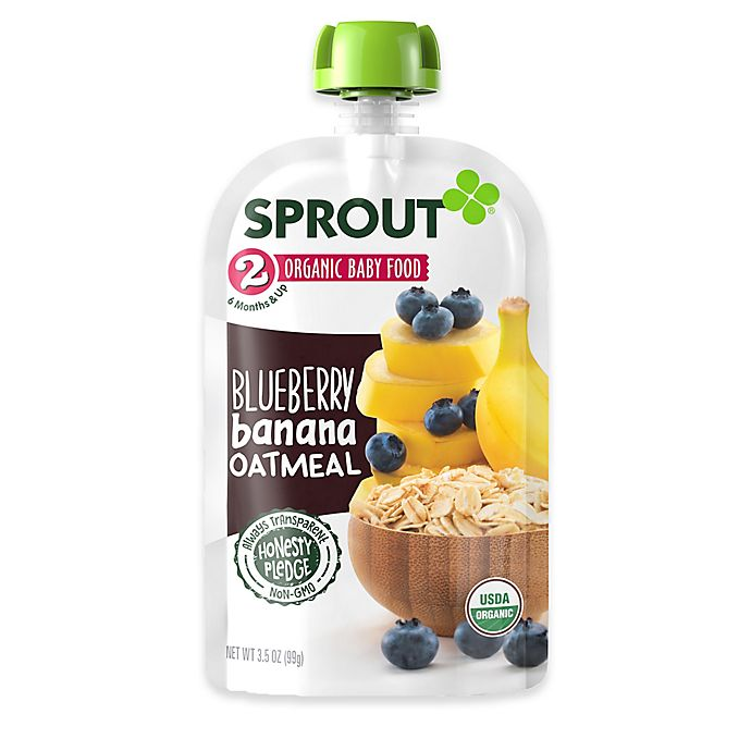 Alternate image 1 for Sprout® 3.5 oz. Stage 2 Blueberry Banana Oatmeal Organic Baby Food
