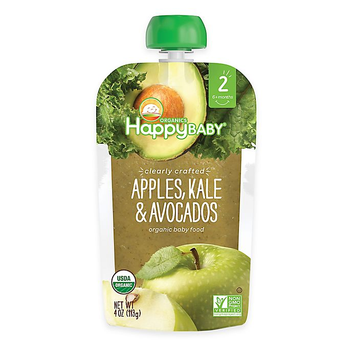 Alternate image 1 for Happy Baby™ Clearly Crafted Stage 2 Organic 4 oz. Apples, Kale, and Avocados