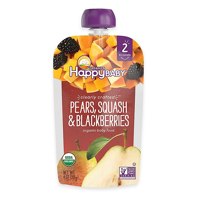 Alternate image 1 for Happy Baby™ Clearly Crafted Stage 2 Organic 4 oz. Pears, Squash, and Blackberries