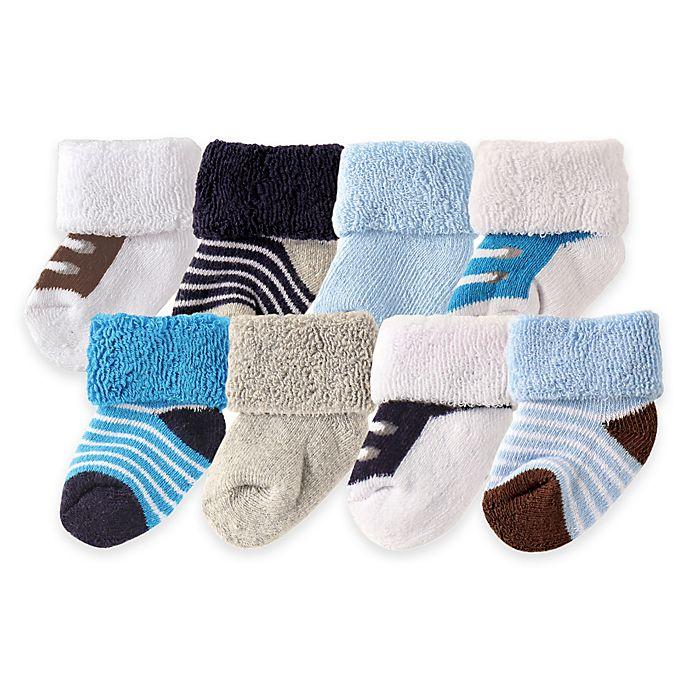 Alternate image 1 for BabyVision® Luvable Friends® Size 0-3M 8-Pack Shoe Socks in Blue