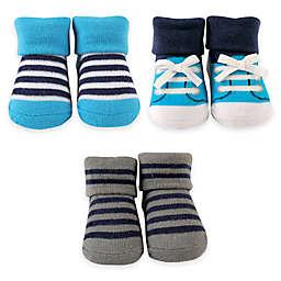 BabyVision® Luvable Friends® 3-Piece Little Shoe Newborn Socks in Blue