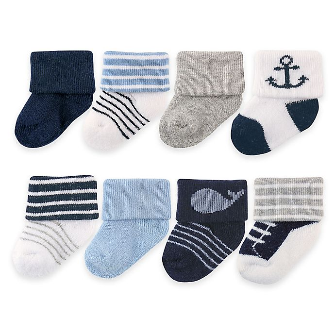 Alternate image 1 for BabyVision® Luvable Friends® Size 0-6M Newborn Socks in Navy