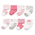 BabyVision® Luvable Friends® Size 0-9M 8-Pack Ballet Socks in Pink/Grey