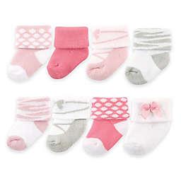 BabyVision® Luvable Friends® Size 0-9M 8-Pack Ballet Socks in Pink/Grey