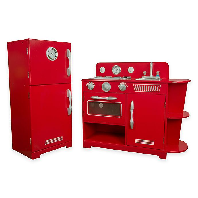 Teamson Kids 2-Piece Classic Wooden Play Kitchen Set in Red