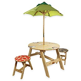 Teamson Kids Outdoor Table and Chairs Set with Umbrella in Sunny Safari