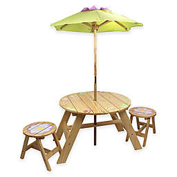 Teamson Kids Outdoor Table and Chairs Set with Umbrella in Magic Garden