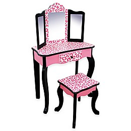 Teamson Kids -Fashion Leopard Print Gisele Toy Vanity Set -in Pink/Black