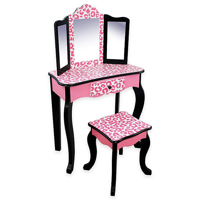 Alternate image 1 for Teamson Kids -Fashion Leopard Print Gisele Toy Vanity Set -in Pink/Black